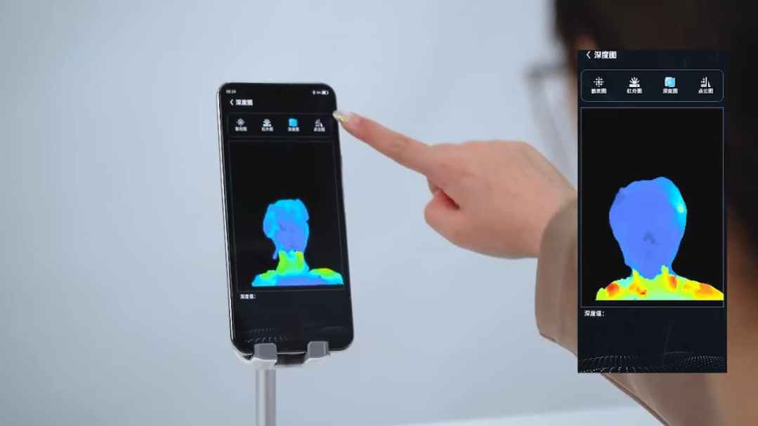 ZTE Demonstrating Functions of under-screen 3D structured light technology