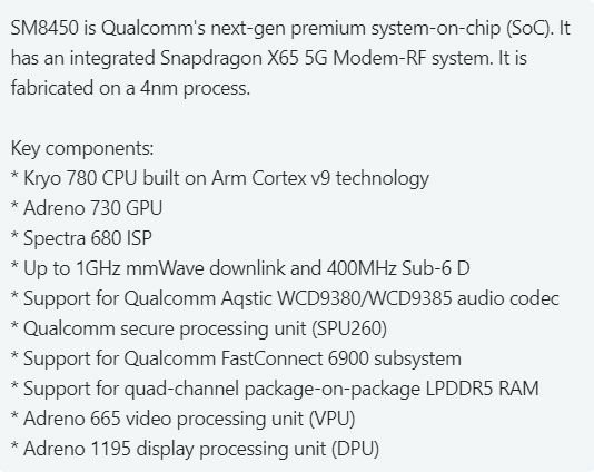 Qualcomm's 4nm Snapdragon SM8450 Specifications Leaked in Detail