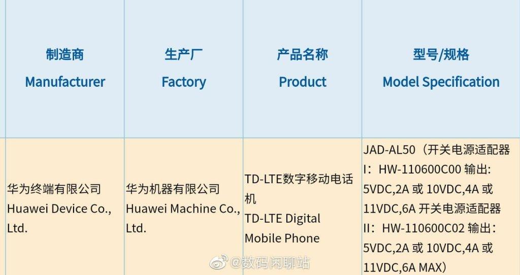 Huawei JAD-AL50 3C Certification