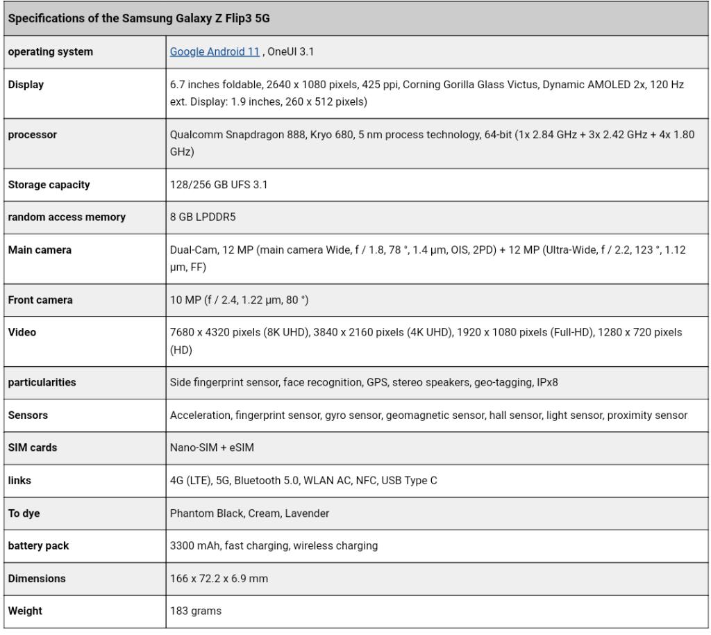 Samsung Galaxy Z Flip3 Full Specifications