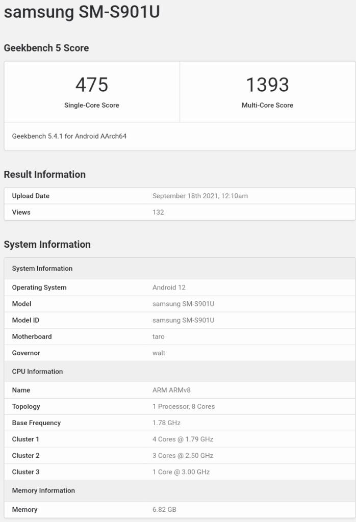 Suspected Samsung Galaxy S22 US version (Samsung SM-S901U) with Qualcomm's Snapdragon 898