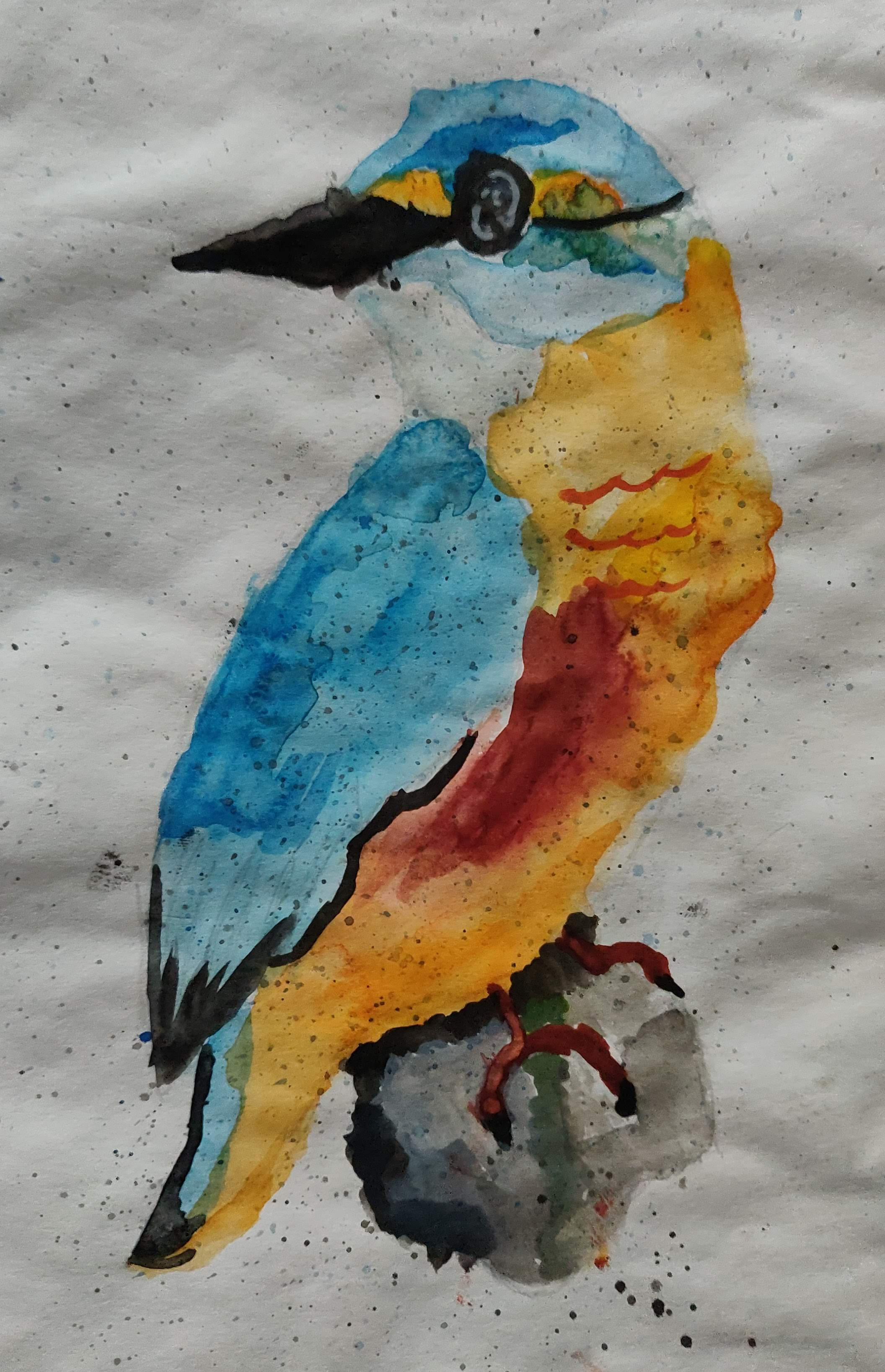 How to paint a Bird with Water Colors