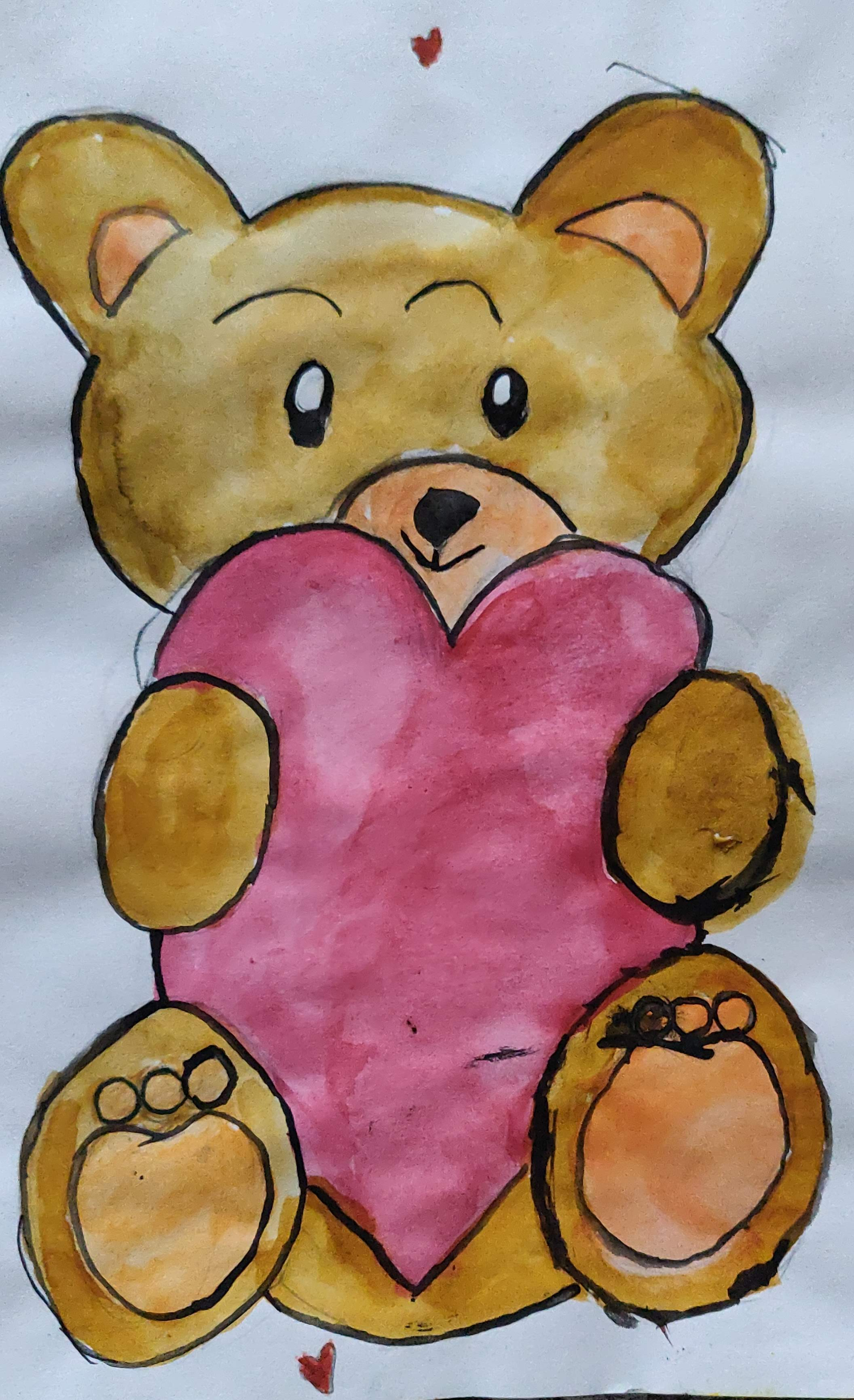How to paint a teddy bear with a big heart with water colors