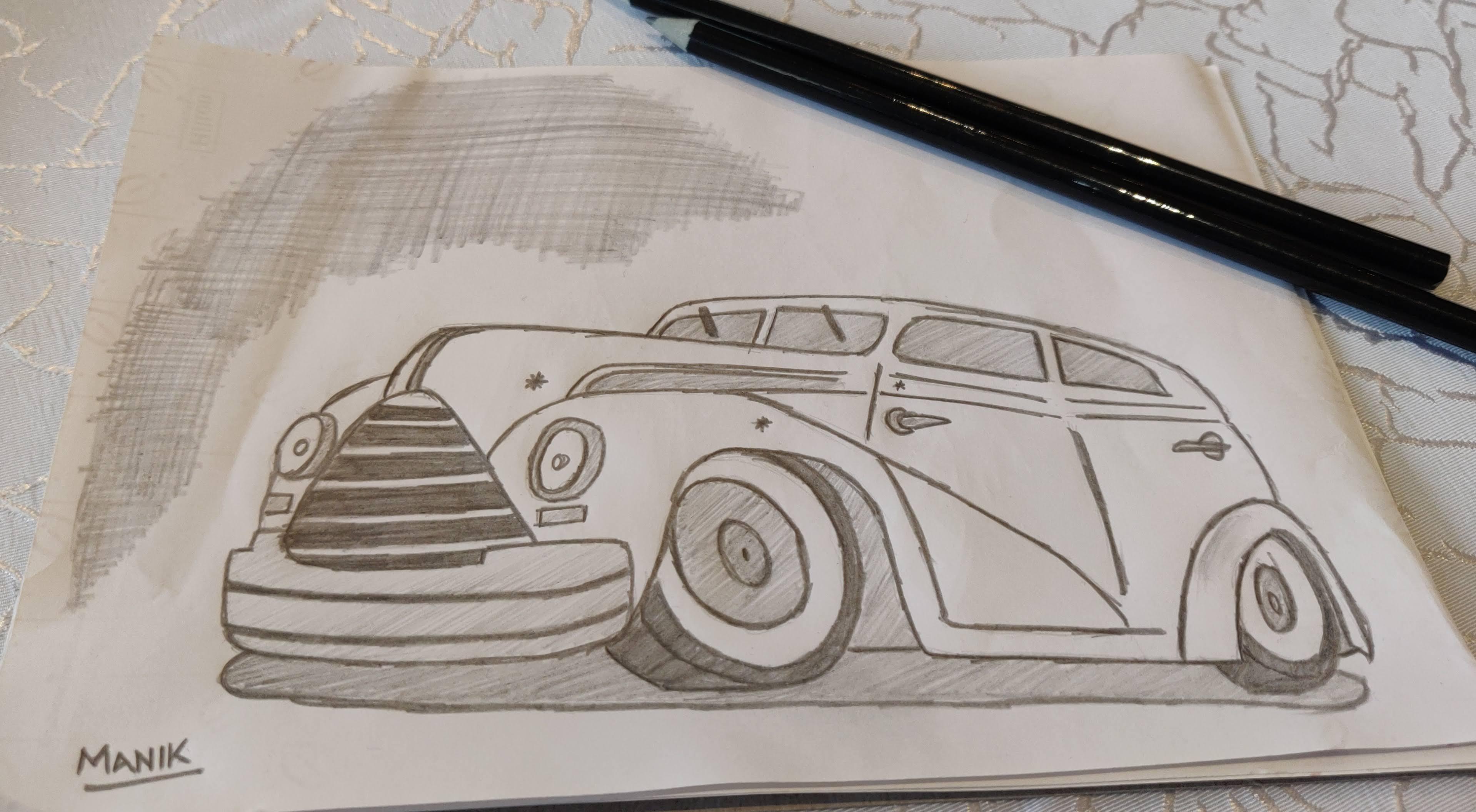 Vintage Car Pencil Sketch Sparsh Hacks