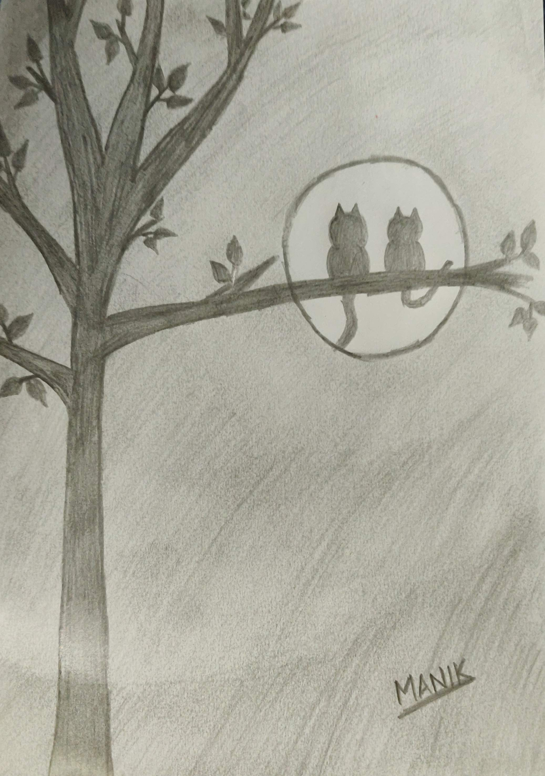 Cats on a tree watching the full moon at night