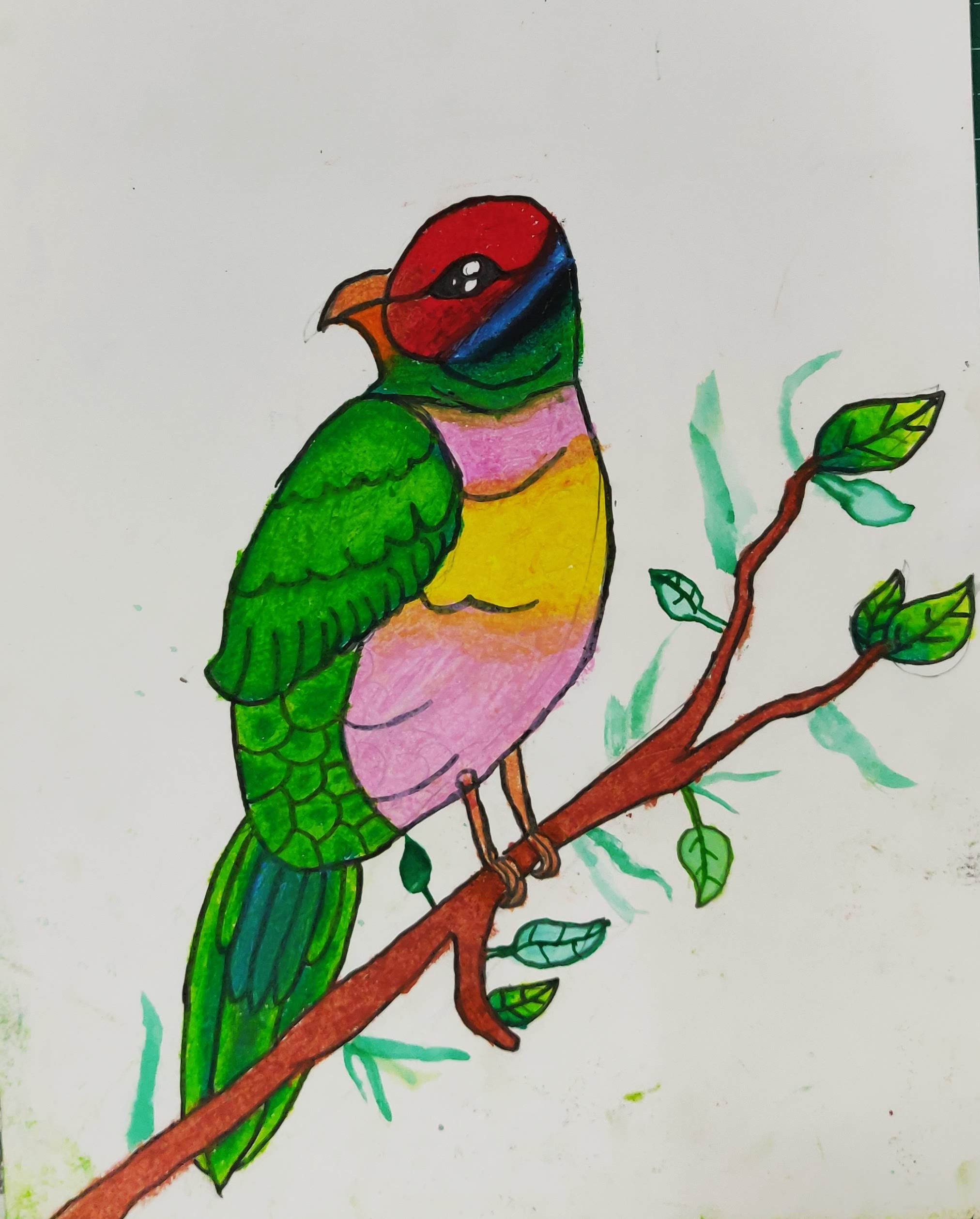 How to Draw a bird with Oil Pastel