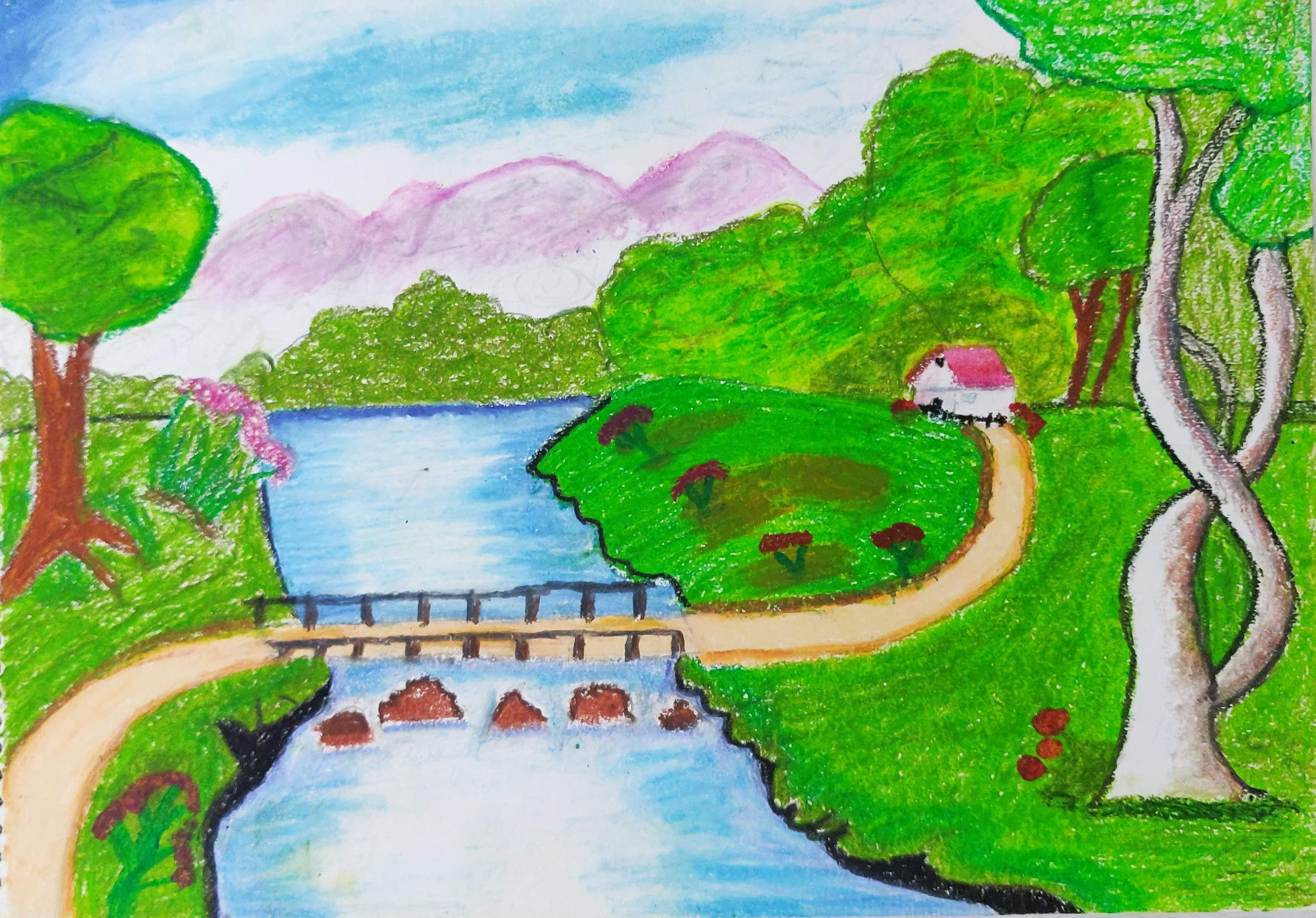How to draw a beautiful village landscape with Oil Pastels