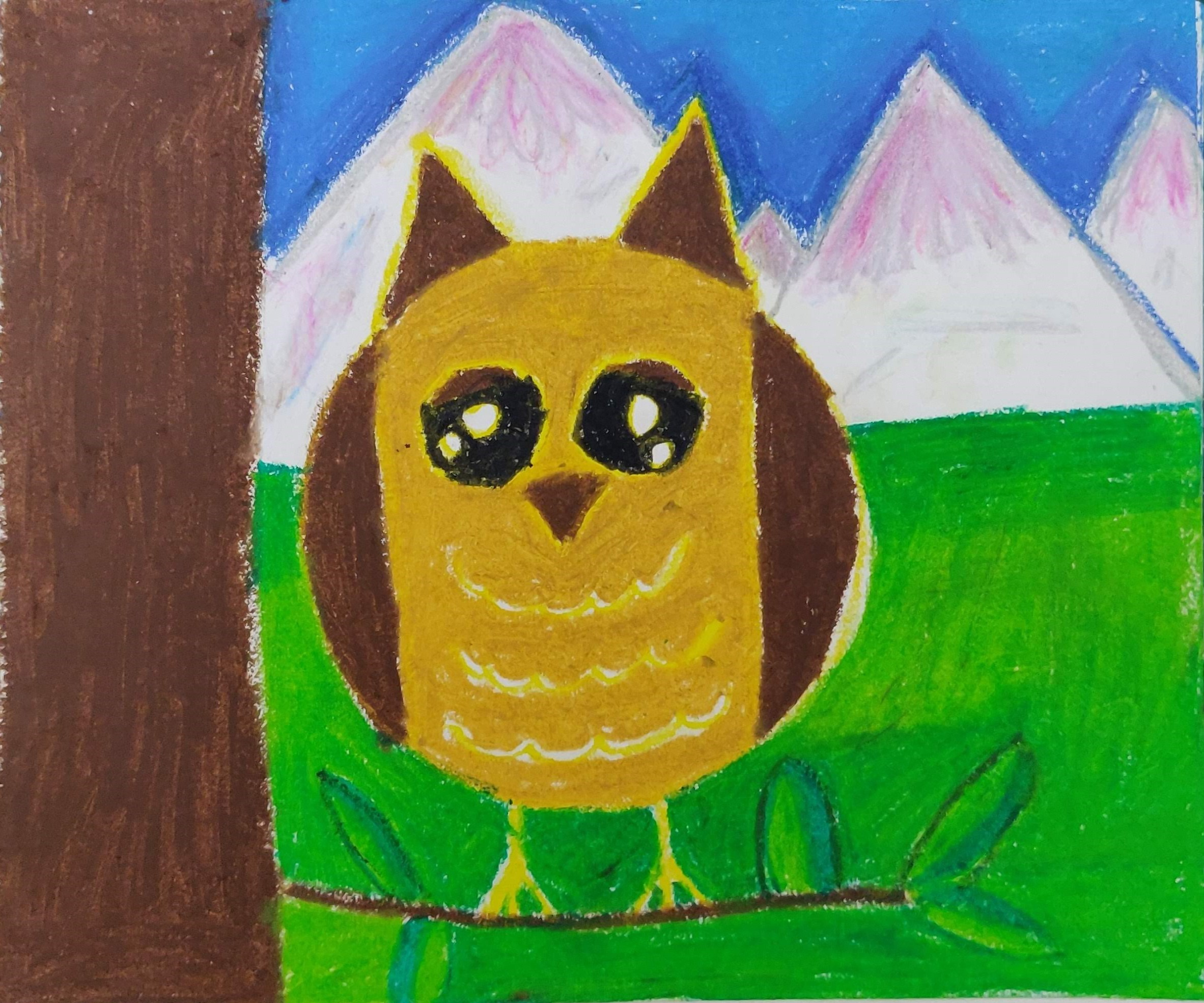 how to draw a simple owl with oil pastels