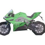 Green Motorcycle Paper Template