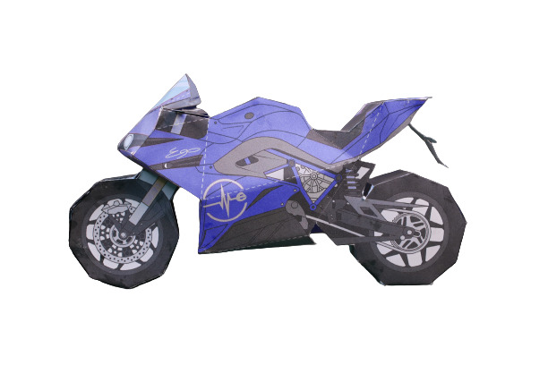 Blue Paper Motorcycle Template