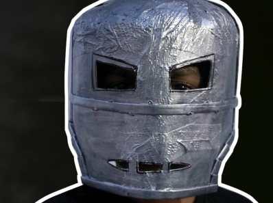 iron man mark 1 helmet with paper