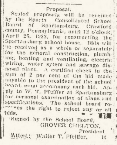 From the Titusville Herald seeking bids for construction April 15, 1922