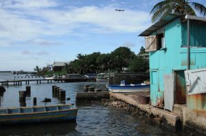 The warehouse near the wharf in Bluefields serves as both marketplace and storing center for fresh fish and produce.