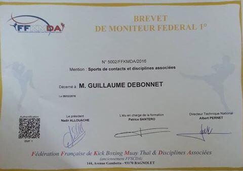 DEBONNET Guillaume obtient le BMF1