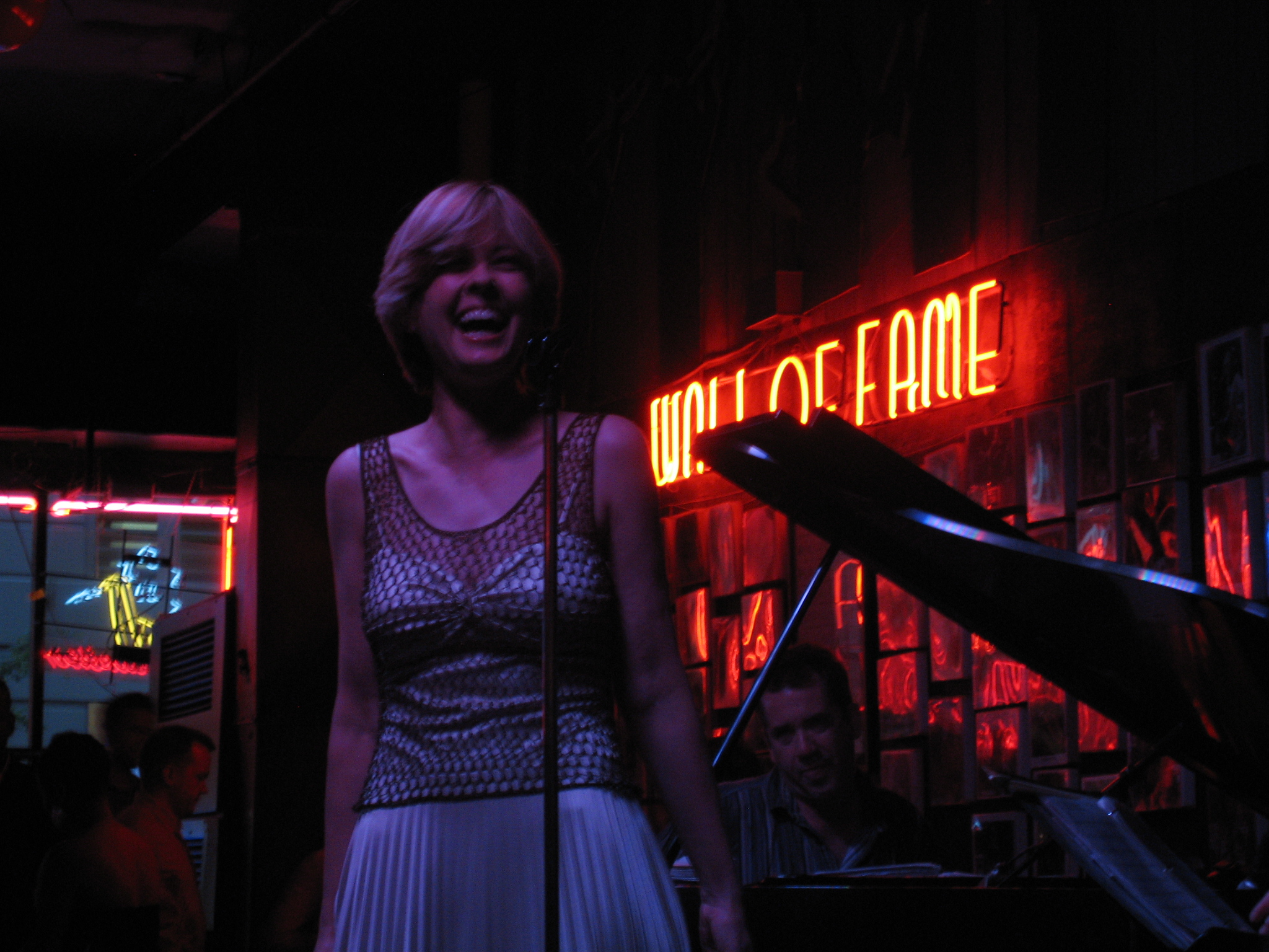 a woman with short hair on stage at Andy's Jazz Club in Chicago