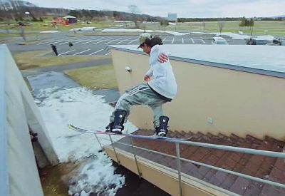 Coole Action mit dem Snowboard