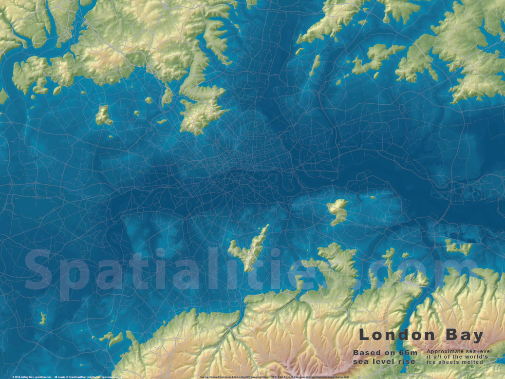 Sea Level Rise Maps Spatialities - Water rising map