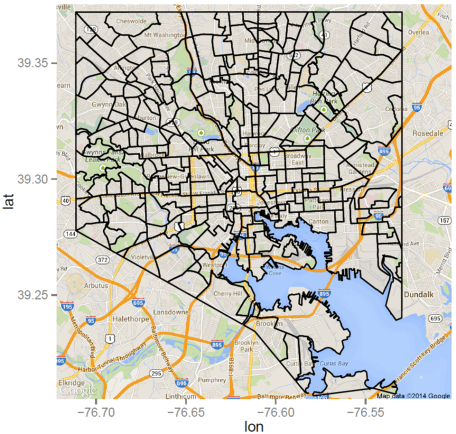 Shapefile Polygons Plotted on Google Maps Using ggmap in R