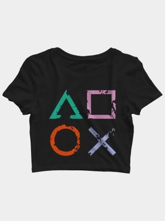 Playstation Symbols Gaming Crop Top