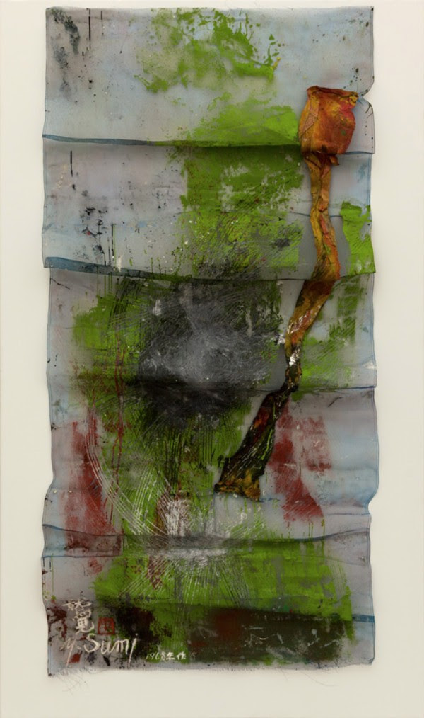 Yasuo Sumi, Untitled, 1968, 180 x 90 cm, fabric and mixed media on net
