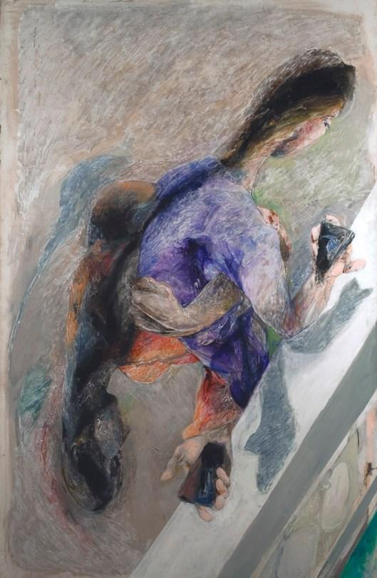 ENNIO CALABRIA - Fusione celibe, 2016 acrilico su tela, cm 200x130