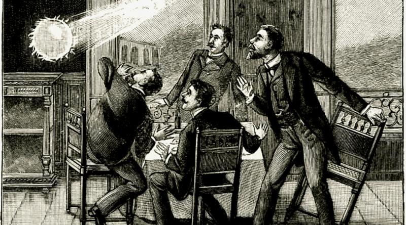 Fantasiosa rappresentazione di un fulmine globulare in un'illustrazione dell'inizio del XX secolo