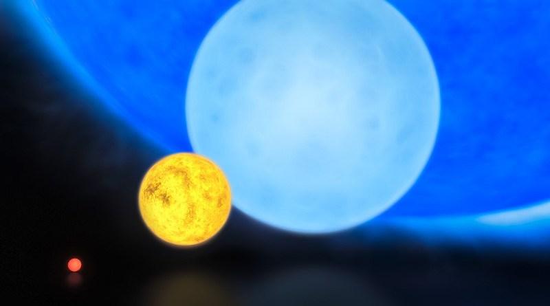 Raffronto tra le dimensioni di, da sinistra a destra: una nana rossa, il Sole, una stella di classe B ed R136a1. R136a1 non è la stella più grande conosciuta in termini di volume; il primato spetta infatti a UY Scuti