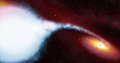 Rappresentazione artistica di Cygnus X-1, una sorgente X che si ritiene esser formata da una stella ed un buco nero stellare