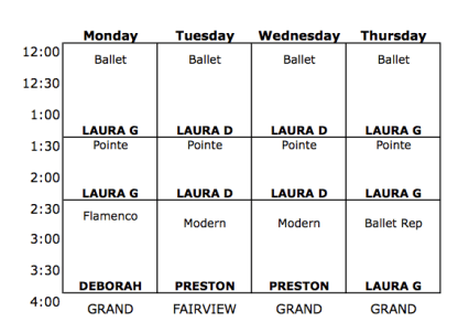 Intensive Level 4 Schedule