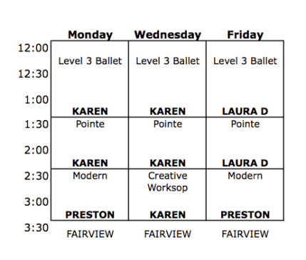 Intensive Level 3 Schedule