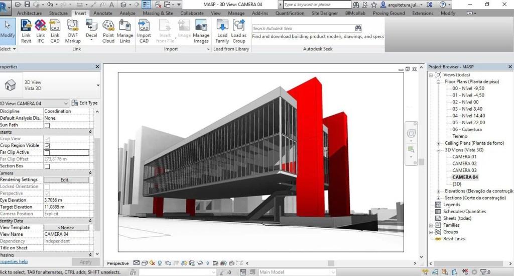 Perspectiva do Curso de Revit MASP da Arquiteta Lina Bo Bardi