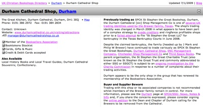UKCBD Entry for Durham Cathedral Shop