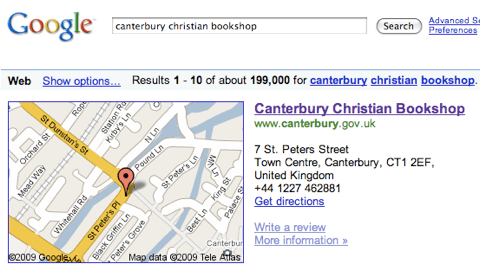 Google Search Result for 'Canterbury Christian Bookshop'
