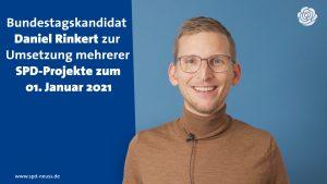 Insbesondere Familien werden zum 1. Januar 2021 durch mehrere im Bundestag umgesetzte SPD-Vorhaben spürbar entlastet. Unser Bundestagskandidat Daniel Rinkert nennt drei Beispiele.