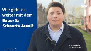 SPD-Stadtverordneter Heinrich Thiel informiert zum aktuellen Stand bei Bauer & Schaurte in der Neusser Nordstadt.