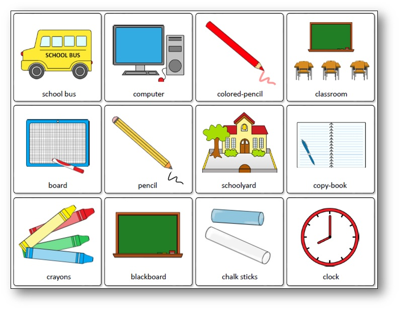 Classroom Objects Memory Game Free Printable Speak And