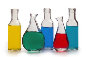 Bottles of Coloured Solutions