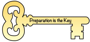 "Old Fashioned Door Key with the Logo, ""Preparation is the Key"""