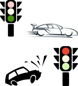 Red & Green Stoplights with Speeding & Braking Cars Respectively