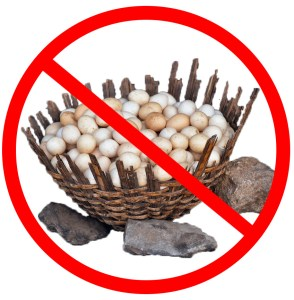 Basket of Eggs with Red Prohibition Sign