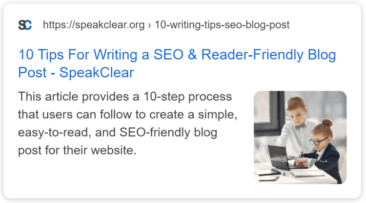 An example of SpeakClear Media's content / blog thumbnail and meta description for Google SEO.