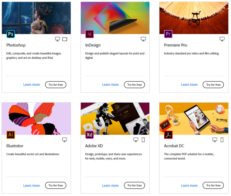 This graphic highlights the six most commonly used Adobe Creative cloud programs of 2020, including Photoshop, Illustrator, and InDesign