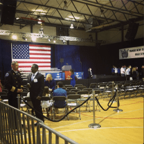 My view of the stage where President Obama would speak at Manor New Technology High School