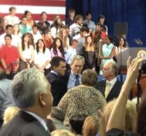 Congressman Lloyd Doggett in the blue shirt. Texas State Representative Mark Strama on left side of Doggett.
