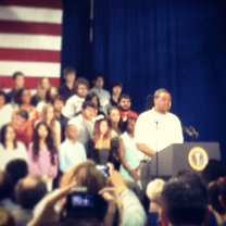 A senior at Manor New Technology High School introducing Obama.