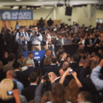 Obama shaking hands after his speech at Applied Materials.