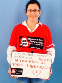 """Antonia Peña, Casa de Maryland. """"I am fasting because I want FREEDOM for all immigrants."""""""