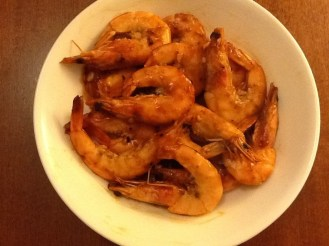 Shrimp stir fried with hot sauce, tomato sauce and worcestershire sauce--my recipe