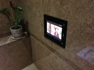 This is the TV inside EACH of the toilet stall. See the plant decoration too? I did not shoot the squatting toilet ...but I should. It is sparkling clean. Oh, you can still see the reflection from the wall!
