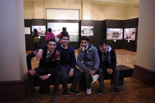 Young students visiting the Architectural Museum in Istanbul, Turkey.